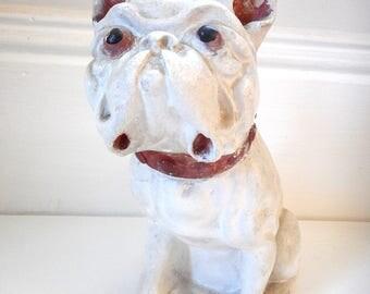 Vintage Chalkware Bulldog Statue
