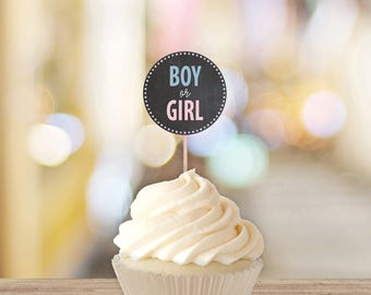 Boy Or Girl Gender Reveal Cupcake Toppers    Printable Gender Reveal Decorations    Gender Reveal Party Ideas, Chalkboard (DIGITAL PRODUCT)