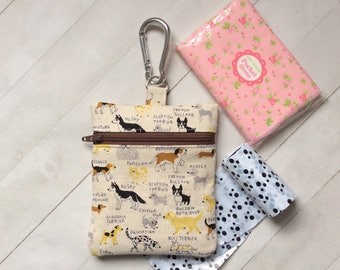 Dog treat bag, Dog walking bag, dog lover gift, Dog training bag, Dog coin purse, zipper pouch, Japanese fabric pouch