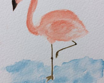 FLAMINGO handmade original watercolour painting