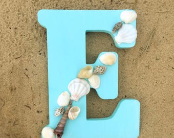 Greek Sorority Painted Beach Wooden Letter With Shells