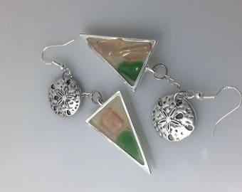 Sterling Sea Glass Drop Earrings w sand dollars - Translucent triangle drop earrings by Lucky Star Dreams