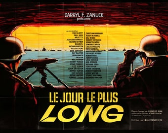 "The Longest Day (1962) Original French 2 Panel Movie Poster - 63""x91"""