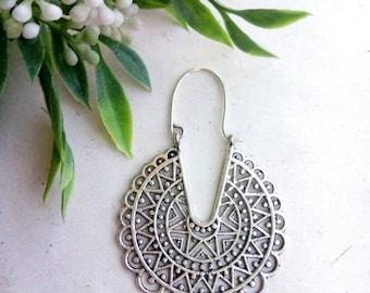 Hoop Brass Earrings. Silver Earrings. Boho Earrings. Gypsy Hoop Earrings. Ethnic Earrings. Tribal design. Handmade Jewelry. Festival Jewelry