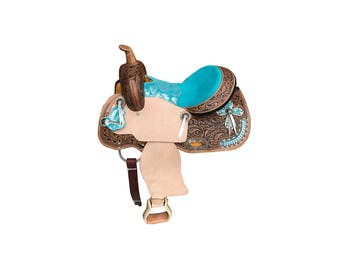 Turquoise Metallic Silver Cross Handmade Fully Tooled Western Barrel Horse Pleasure Trail leather Saddle