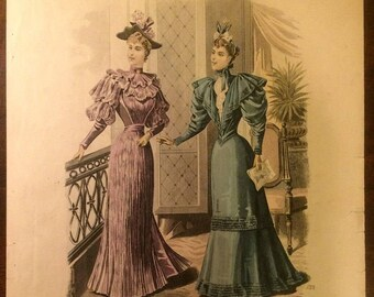 French Fashion Plate Print from 1800's - La Mode de Paris