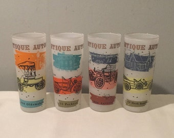 Vintage Set of Antique Auto Frosted Glasses - Anchor Hocking Collectible Glasses