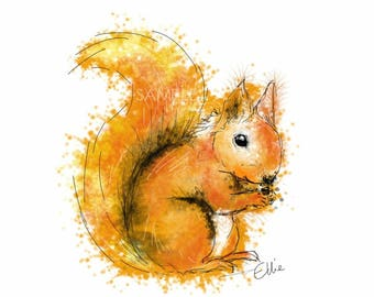 Mounted squirrel print // red squirrel print // squirrel print // squirrel gift // woodland animal decor // woodland nursery decor