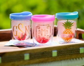 Stemless Acrylic Wine Tumbler -Custom Personalized Monogrammed Tumbler, Rose Gold Bridal Party, Bachelorette, Stemless Wine Cup