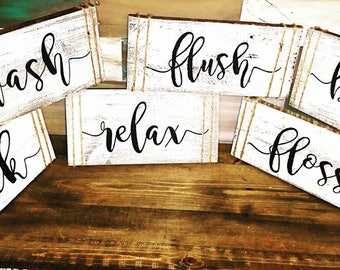Wash, soak, relax, flush, floss, brush, 6pcset, bathroom signs, rustic bathroom decor, distressed bathroom sign