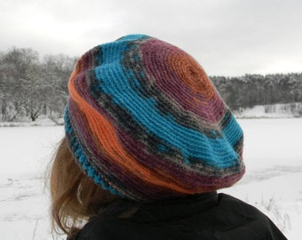 Wool beret women colorful Crochet beret Winter beret women Autumn Knit Scarf Turquoise Pumpkin warm fall crocheted Multicolor Ladies Hat
