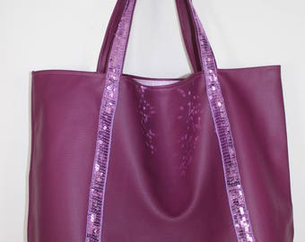 Large tote bag in faux leather plum and purple glitter band