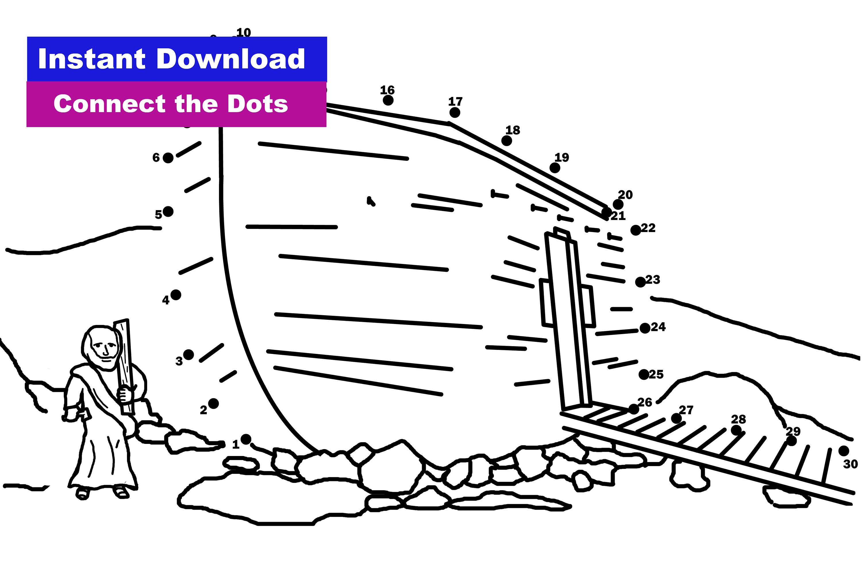 Noah's Ark Connect The Dots Coloring Sheet