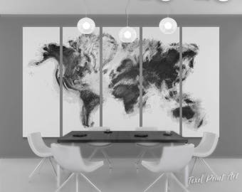 Charcoal abstract world map canvas, black world map print, black world map canvas set, large black and white world map wall art, black map