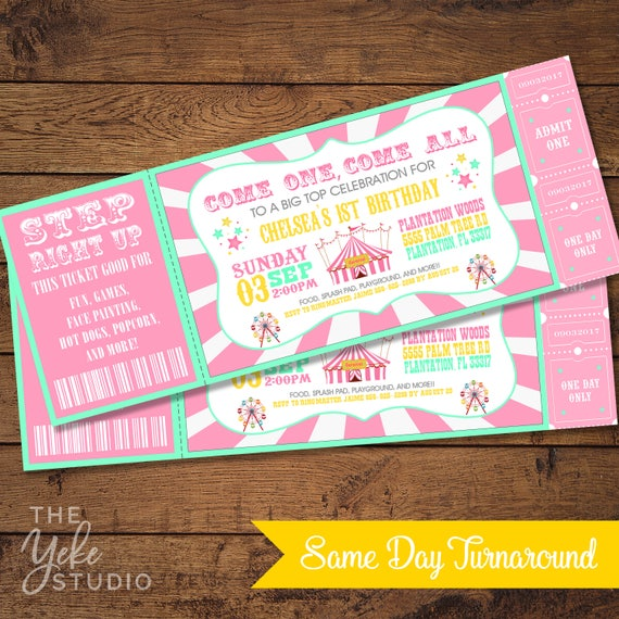 Pink mint vintage circus carnival invitation ticket invitation il570xn solutioingenieria Choice Image