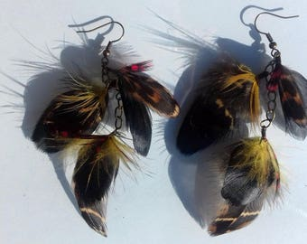 Earrings colorful feathers - jewelry natural feather and chain - gift mother's day - yellow and red - rock