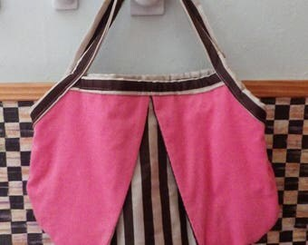 Bold Pink Corduroy and Brown Satin Medium Size Tote Bag