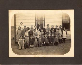 Vintage Antique 1800's School Children's Class Photograph ~ One Room School House