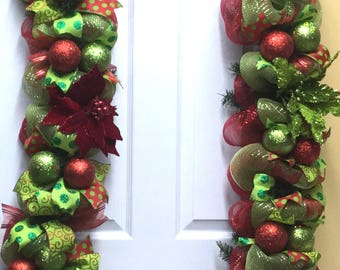 MADE TO ORDER Christmas Garland, Deco mesh garland, Red and Lime, Christmas decor, Mantle garland, 160