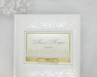 Unique Album, Picture Album, Wedding Photo Album with clear pockets, Clear pockets, Satin ribbon, Wedding memories, 4x6 photos