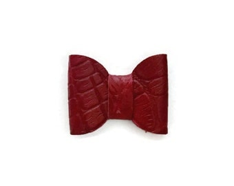 Alligator Clip Hair Bow, Genuine Leather, Hair Accessories, Red Bow, Leather Bow, Hair Bow, Alligator Clip, Red Leather Bow