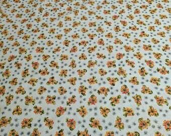 Flowers on Beige Cotton Fabric