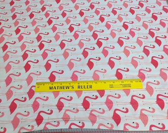 Urban Zoologie-Pink Flamingos Cotton Fabric Designed by Anne Kelle for Robert Kaufman Fabrics