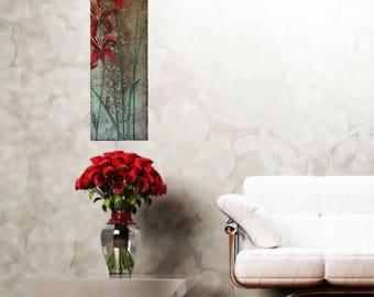 Original garden art garden flower door impasto textured lily painting 36x12 modern absract artwork