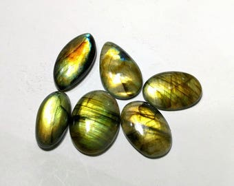 Yellow flashy labradorite cabochons 6 pcs 33.4 gm GM 505