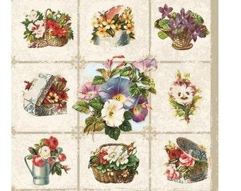 4pcs Decoupage Napkins, Set of 4 Paper Napkins, 33x33cm (13 inch), Napkin - Pattern Violets and Flowers, Vintage Serviette
