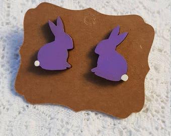 Large laser cut wood Easter bunny earrings, handpainted