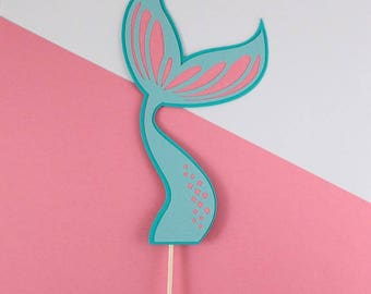 Mermaid Tail Birthday Cake Topper, Pink and Teal | Girl Birthday Cake Topper | Cake Topper