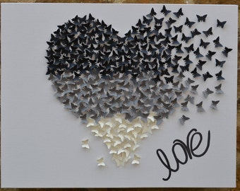 Heart Wall Decor ombre 3d butterfly wall art/butterfly heart wall decor/3d