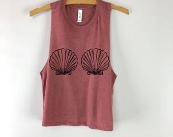 mermaid shell shirt, Seashell bra top, Mermaid Tank Top,Mermaid Top,Mermaid Shirt, Seashell Top,Seashell bra tank top, Seashell shirt, beach