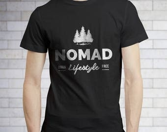 Hiking Shirt - Nomad Lifestyle Unisex T-Shirt - Happy Camper Tshirt -Nature Shirt - Outdoor Shirt - Camping Clothes - Summer Camp Shirt