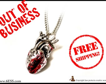 SALE Anatomical Bloody Heart Necklace,Bloody Heart Anatomy Pendant,Anatomical Jewelry,3D Heart Necklace,Gothic Heart Necklace,FREE SHIPPING