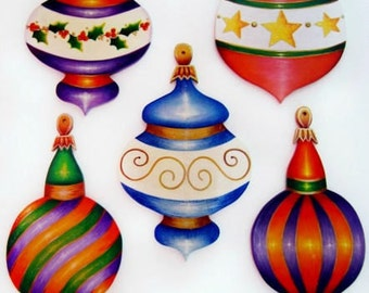 337 Five Elegant Ornaments-Decorative Painting Pattern Packet-Wood Christmas Ornaments-Instructions-3 Different Shapes-DIY-Holly-Star-Swirls