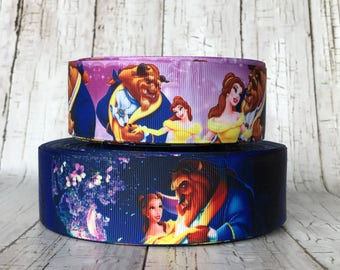 "1 1/2"" Beauty And The Beast Belle Princess Inspired Movie TV Cartoon Girls Grosgrain Ribbon  - Sold by 5 Yards"