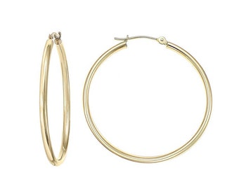 14k SOLID Yellow , White, Rose Gold Hoop Earrings 10mm. 12mm. 14mm. 18mm. 21mm. 25mm. thickness 1.2MM .05 . Birthday Gift.#163Valentines