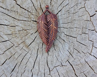 Feather pendant Wooden pendant  Wooden feather pendant Hand carved pendant Womens gift Wife gift Mens gift Girlfriend gift Mother gift