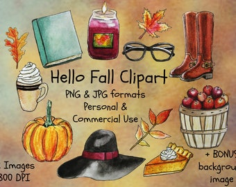 Fall Clipart, autumn clip art, book clipart, autumn leaves, leaf clipart, back to school clipart, Watercolour Clipart, commercial use, png