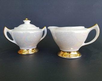 Vintage Lusterware Creamer and Sugar Bowl~Gold Gilt~Iridescent Pearl