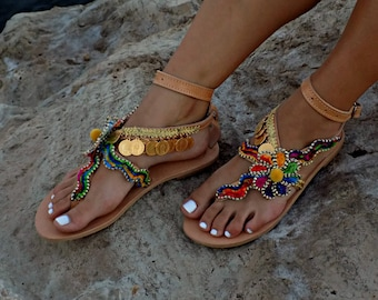 "Handmade Sandals, Greek Leather Sandals, Boho Sandals,  Gypsy Sandals, Women Sandals,  Luxury Sandals, Hippie Sandals ""Cleopatra"""