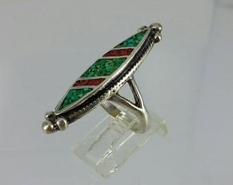 Vintage Sterling Silver Crushed Turquoise Red & Blue/Green Long Oxidized Ring, Sz 6
