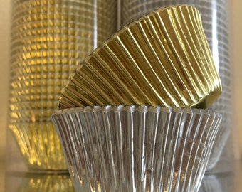 Gold & Silver Foil Cupcake Standard Size Liners - Baking Cups.