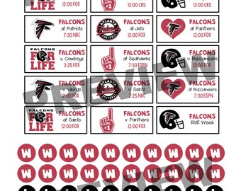 Atlanta Falcons 2017-2018 Season Schedule Stickers for Erin Condren Life Planner {INSTANT DOWNLOAD}