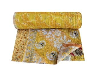 Yellow Queen Size Vintage Kantha Quilt Indian Cotton Sari Patchwork Kantha Blanket Bohemian Kantha Bedspread Reversible Kantha Throw