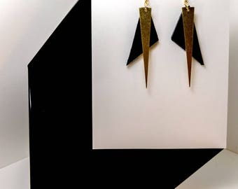 To The Point #1 -  leather and brass drop earrings - 1405