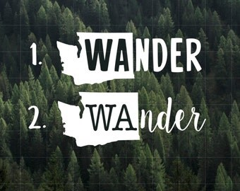 Wander Washington State Vinyl Decal | MacBook Decal | Yeti Decal | Car Decal | Water Bottle Decal | Laptop Decal | Washington | PNW | Wander