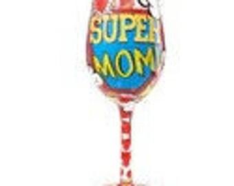 Super Mom Wine Glass by Lolitta